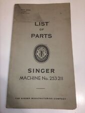 Singer Sewing Machine No. 253-211 List Of Parts 1958 RARE ANTIQUE ORIGINAL