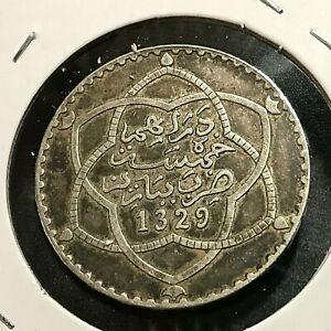 1911 MOROCCO SILVER 1/2 RIAL HIGH GRADE COIN