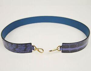 $230 MCM Navy Python Leather Handbag Strap and Gold Clips MYZ6AMA06VY001