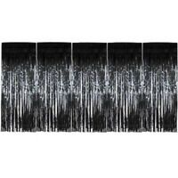 Backdrop Black Shimmer Foil Metallic Tinsel Glitter Curtain Fringe Window Party