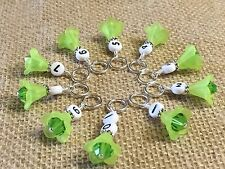 1-10 Row Counter Stitch Markers - Number Markers For Knitting - Green Flowers