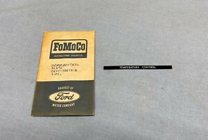 NOS 1966 LINCOLN CONTINENTAL A/C HEATER TEMP CONTROL NAMEPLATE #C6VY-18619-B