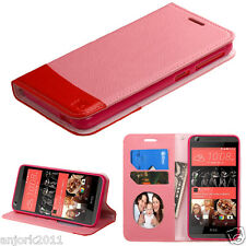 For HTC Desire 626 / 626s / 530 Folio Pouch Cover w/ID Slots Case Pink/Red