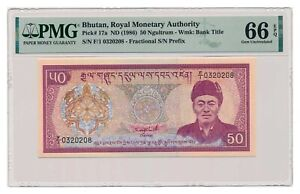 BHUTAN banknote 50 Ngultrum 1986 PMG MS 66 EPQ Gem Uncirculated