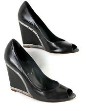 BCBG MAXAZRIA Black Patent Leather Wedge Slip On Shoes Sz 7.5 Peep Toe Studs EUC