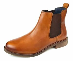 Womens Ankle Chelsea Boots Tan Leather Ladies Slip On Size 3 4 5 6 7 8
