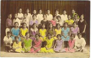 Philippines 1930s YOUNG PREWAR CLASS PICTURE Colorized RPPC