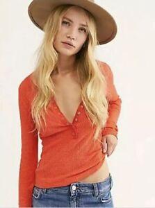 NEW Intimately Free People One Of The Girls Henley Orange Size M Medium