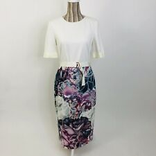 Ted Baker Stephie Illuminated Bloom Belted Floral Midi Dress 4 Womens
