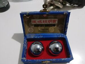 38mm Baoding Balls Chinese Health Exercise Stress Relief Metal Chrome & Case