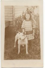 1915 Azo Rppc Postcard of Adorable Girl and her Pitbull Terrier Dog Mabel Voight