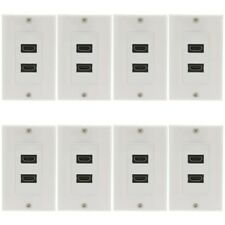 8x 1-Gang 2-Port HDMI Wall Plate Faceplate Coupler F/F Cable HDTV 1080p White