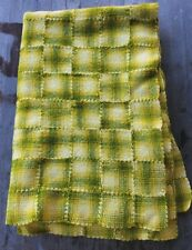 Vintage Handmade Wool Throw Yellow and Green Quilt Patchwork