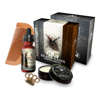 ORGANIC BEARD GROOMING KIT W/ BEARD OIL, BALM, SOAP, BEARD COMB & MUSTACHE COMB