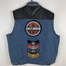 Denim Mens Vest Harley Davidson Patches Motor Cycles Logo Badges Reptile Leather
