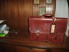 ALESSANDRO VENANZI LEATHER DOUBLE GUSSET BUCKLED BRIEFCASE cordovan  #9851 NEW