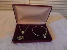 Swarovski Crystal Halo Jewelry Set (Necklace & Bracelet).