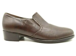 Munro Brown Leather Dress Casual Slip On Block Heel Loafers Shoes Women's 7 W