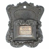 Gem Saloon Tombstone Wall Mounted Brothel Match Holder, Cast Iron Antique Finish