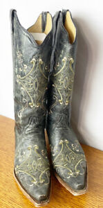 Circle G Corral Ladies Cowgirl Western Boots Black Crackle/ Green L5047 Size 11