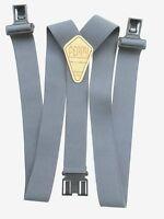 "Perry 1 1/2"" & 2"" Gray Suspenders"