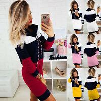 Women Casual Long Sleeve Slim Dress Ladies Winter Collared Bodycon Mini Dresses