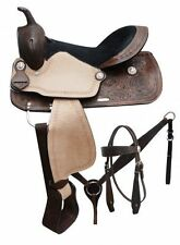 "16"" Economy style saddle set with floral tooling and rough out fenders & jockeys"
