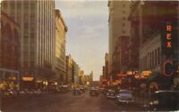 Autos 1950s SPOKANE WASHINGTON Night Neon Riverside Avenue Roberts postcard 4847