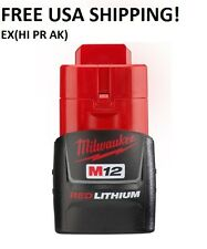 !Genuine! MILWAUKEE M12 Red Lithium Ion Battery (only) 12 Volt 48-11-2401 New!