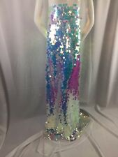 """Fantastic Hologram big dot sequin mesh fabric 54"""" pink pearl. Sold by the yard."""