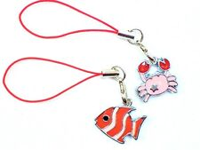 #5381 - PINK RED FISH & CRAB TABLET CELL PHONE DUST PLUG, PURSE OR SHOE CHARMS