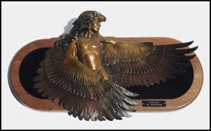 Dan Garrett Large Original Bronze Sculpture Akicita Messenger Signed Native Art