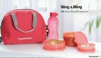 TUPPERWARE SLING A BLING CONTAINS 3 BOWLS + 1 BOTTLE + 1 BAG (AIR & WATER TIGHT)
