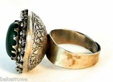 Hand Carved Vintage 1970 Tibetan Silver & Cabochon Green Agate Punch Bowl Ring 8