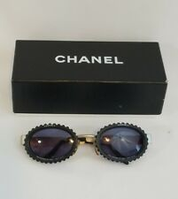 Vintage CHANEL ICONIC CAMERA LENS SUNGLASSES Rare Oval Sun Glasses Hard To Find