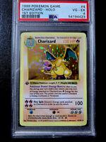 CHARIZARD 1ST EDITION -THICK STAMP- SHADOWLESS - #4/102 Holo 1999 Pokemon PSA 4