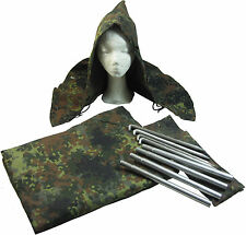 Original German Army Flecktarn Zeltbahn Set - Grade 1 Tent Cover Poncho WW2 Hood