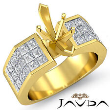 Diamond Engagement Huge Ring 14k Yellow Gold Princess Invisible Semi Mount 1.54C