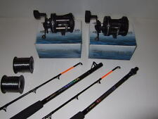 2 x Sea Tackle 6ft Boat Fishing Rods + C30 Reels + Line