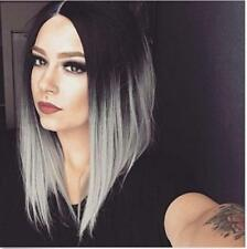 Ombre Gray Straight Hair Bob Wig Synthetic Wigs for Black Women