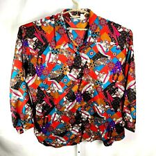 Vintage 80s 90s Shirt Womens Size 22 Long Sleeve Polyester Funky Horse Retro