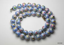 Faux Cloisonne Necklace Chinese Export Blue Porcelain Beads Sterling Necklace