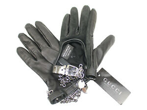 GUCCI Gloves Black Suede Leather Messenger Bag Accessories Gloves Popular used