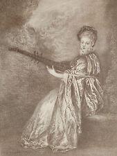 Lithographie  ancienne de A. Broquelet xxe La finette d'après Watteau musique