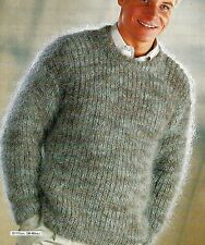 "#224 homme mohair pêcheurs rib sweater 36-46"" vintage knitting pattern"