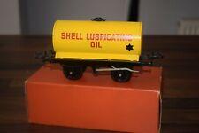 "HORNBY TRAINS O GAUGE No 50 YELLOW TANK WAGON ""SHELL LUBRICATING OIL n/mint"
