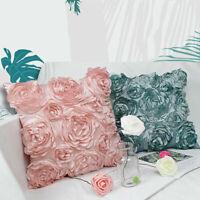 3D Square Flower Rose Pattern Linen Cushion Cover Pillowcase Sofa Decor 42x42cm