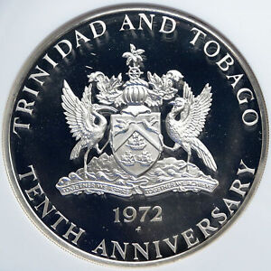 1972 TRINIDAD and TOBAGO Islands Large Vintage Proof Silver $10 Coin NGC i87842