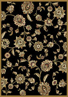 "Traditional Floral Oriental Area Rug 5x8 Black Persien Carpet  -Actual 5'2""x7'2"""