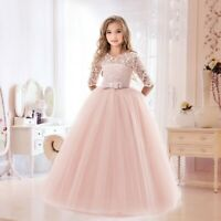 Flower Girls Princess Dress Kids Party Lace Tulle Wedding Birthday Dresses